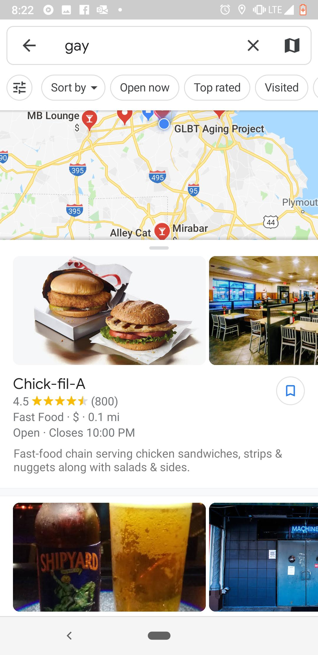 a search for 'gay' which came out with chick fil a