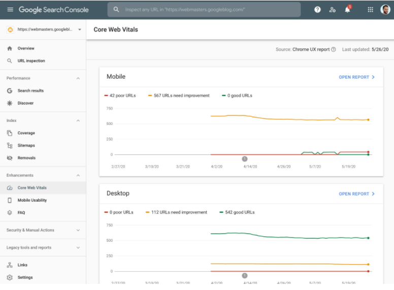 Search Console Screenshot of the Core Web Vitals report