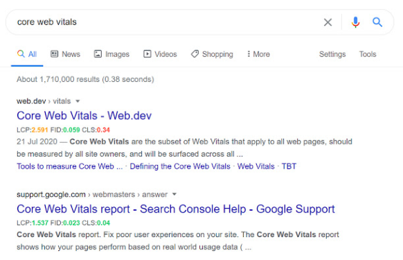 core serp vitals screenshot