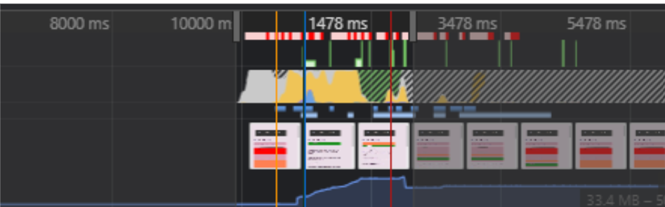 screengrab of the devtools timeline showing a layout shifting around
