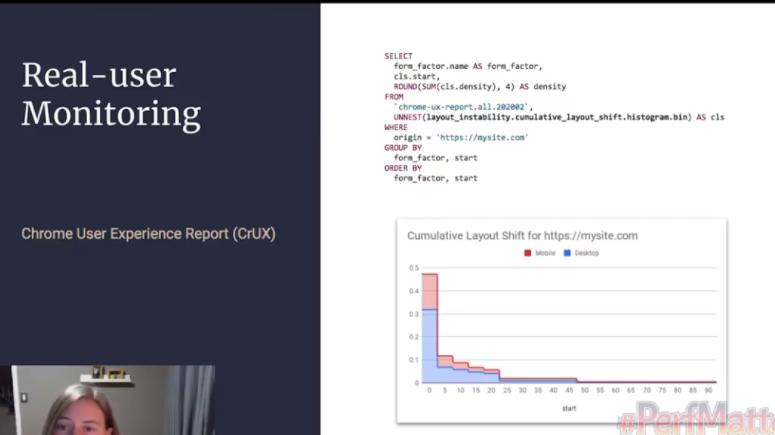 "screengrab from the perfmatters conference called ""real user monitoring: Chrome User Experience Report"""