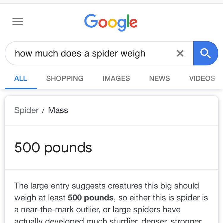 spiders weigh 500 pounds